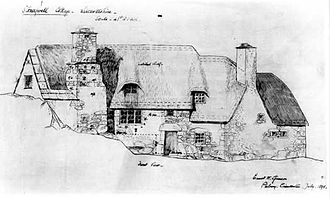 Ernest Gimson - Drawing of Stoneywell by Ernest Gimson, July 1898