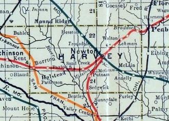 Sedgwick, Kansas - 1915 Railroad Map of Harvey County