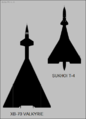 Sukhoi T-4 and North American XB-70 top-view silhouette comparison.png