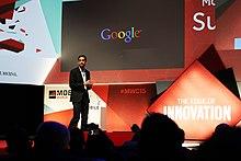 Pichai durante il Mobile World Congress a Barcellona, Spagna