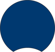 Blue log graphic, round with half-moon-shaped notch
