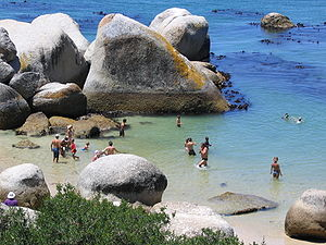 Boulders Beach - Swimmers enjoying the relative calm waters of the sheltered beach next to the penguin colony