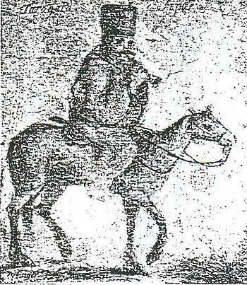 English: Soldier playing tárogató on horseback...