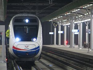 Konya railway station - An HT65000 high-speed EMU at Konya station.