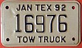 TEXAS 1992 -TOW TRUCK SUPPLEMENTAL LICENSE PLATE - Flickr - woody1778a.jpg