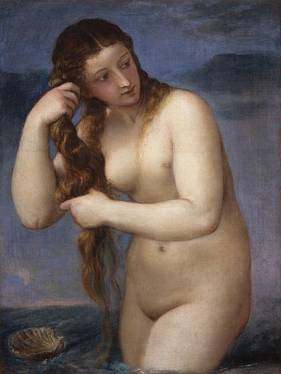 TITIAN - Venus Anadyomene (National Galleries of Scotland, c. 1520. Oil on canvas, 75.8 x 57.6 cm)