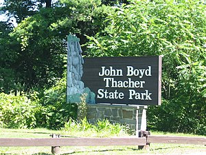 John Boyd Thacher State Park - Entrance sign