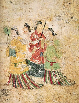 Asuka period - A wall mural depicting ladies, from the west wall of the Takamatsuzuka Tomb, late 7th century, Asuka period