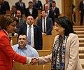 Tamar Chugoshvili Greeting Salome Zourabichvili in Parliament.jpg
