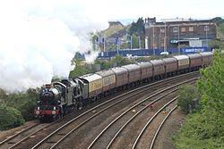 Taunton - 5029 and 34046 with Great Britain VII railtour.jpg