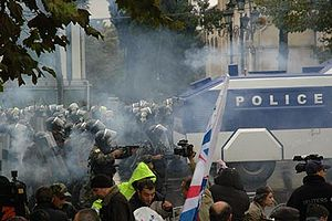 2007 Georgian demonstrations - Protesters clash with riot police on 7 November 2007.