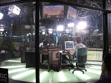 A StarCraft match in South Korea, televised by MBCGame Televised Star Craft.jpg