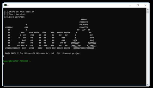 Terminal start linux on darkmoon
