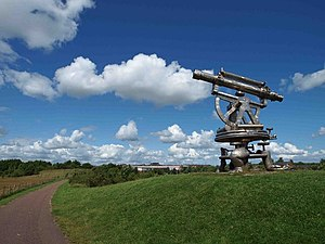 Consett Iron Company - Terra Novalis Stainless steel sculpture beside the coast-to-coast (C2C) path at Consett.