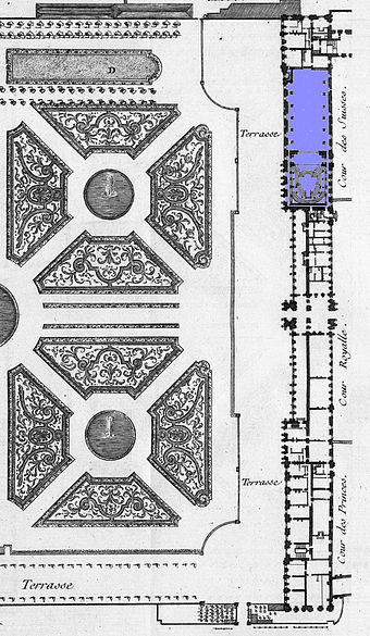 Plan of the Tuileries Palace with the theatre marked in blue (1756) Theatre des Tuileries on a general plan - Blondel tome4 (1756) livre6 plate20 (detail, modified) - KU.jpg