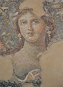 "The ""Mona Lisa of the Galilee"" (possibly Venus), part of the Dionysus mosaic floor in Sepphoris (Diocaesarea), Israel (15438965280).jpg"