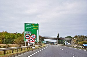 A17 road (England) - Kirkby la Thorpe end of the Sleaford bypass