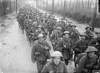 Royal Fusiliers - Men of the 10th (Service) Battalion, Royal Fusiliers (City of London Regiment) marching to the trenches, St Pol (Saint-Pol-sur-Ternoise), France, November 1916.
