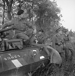 Bernard Paget - Lieutenant General Sir Bernard Paget and Anthony Eden, the Foreign Secretary, watch an exercise involving the 42nd Armoured Division near Malton, North Yorkshire, 29 September 1942. The tank in the foreground is a Crusader and to Paget's left is the GOC, Major General Miles Dempsey.