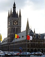 The belfry of the Cloth Hall in Ypres, Belgium