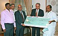 The Defence Minister, Shri A. K. Antony being presented a dividend cheque by the CMD, Bharat Electronics Limited, Shri V. V. R. Sastry, in New Delhi on October 29, 2007.jpg
