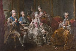 Louise Marie Adélaïde de Bourbon, Duchess of Orléans - La famille du Duc de Penthièvre, ou La tasse de chocolat, painting by Jean-Baptiste Charpentier le Vieux (1768). From left to right, seated: Duc de Penthièvre; prince de Lamballe; Princesse de Lamballe, Comtesse de Toulouse; standing in background: Mlle de Penthièvre.