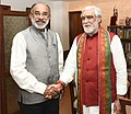 The Minister of State for Health & Family Welfare, Shri Ashwini Kumar Choubey meeting the Minister of State for Tourism (IC), Shri Alphons Kannanthanam, in New Delhi on July 25, 2018.JPG