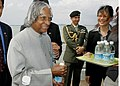 The President, Dr. A.P.J. Abdul Kalam holding a bottle of desalinated water after visiting the Public utility Board Desalination Plant in Tuas in Singapore on Feb 2, 2006.jpg