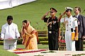 The President of India, Smt. Pratibha Patil paying tribute at Shantivan the Samadhi of former Prime Minister, Pandit Jawaharlal Nehru, in Delhi on July 26, 2007.jpg
