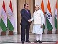 The Prime Minister, Shri Narendra Modi with the President of the Republic of Tajikistan, Mr. Emomali Rahmon, at Hyderabad House, in New Delhi on December 17, 2016.jpg