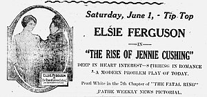 The Rise of Jennie Cushing - Newspaper advertisement.
