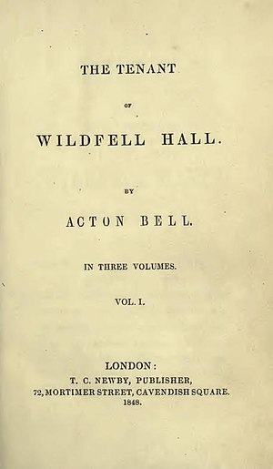 The Tenant of Wildfell Hall - Title-page of the first edition, 1848