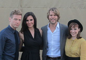 NCIS: Los Angeles - Part of the cast in 2012 (from left): Barrett Foa, Daniela Ruah, Eric Christian Olsen and Renée Felice Smith