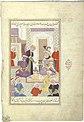 The envoy Qanbar Aqa, sent by Shah Ismail I, before Sultan Murad Turkman, Mu'in Musavvir, Isfahan, circa 1670.jpg