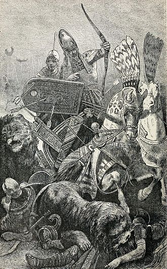 "Sesostris - ""The great Sesostris"", identified in this 19th-century engraving as Ramesses II during the Battle of Kadesh."