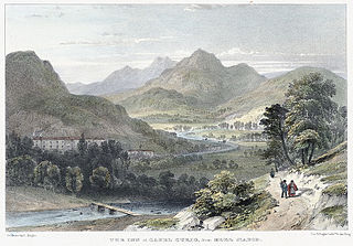 The inn at Capel Curig, from Moel Siabod