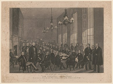 The national convention, meeting on Monday 4 February 1839, at the British Coffee House The national convention. As it met on Monday the 4th of February, 1839, at the British Coffee House ca. 1839 LCCN2004669356.jpg
