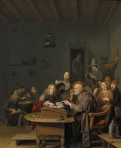 The schoolmaster and his pupils, Pieter Harmensz. Verelst, c. 1650, oil on panel, 42 by 34 cm, The Kremer Collection.jpg