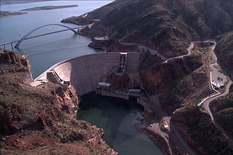 Theodore Roosevelt Lake - Aerial view of the dam