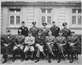 This is the brass that did it. Seated are Simpson, Patton (as if you didn't know), Spaatz, Ike himself, Bradley... - NARA - 535983.tif