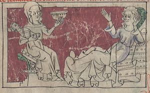 Calingae - Image: Thomas de Kent Bnf fr 24364 fol 51v femmes ke enfantent en cinck anz