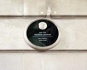 Thomas Creevey - Commemorative plaque in School Lane, Liverpool
