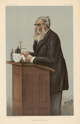 """Thomas Stevenson (toxicologist) - """"Medical Jurisprudence"""" Stevenson as caricatured by A. G. Witherby in Vanity Fair, November 1899"""
