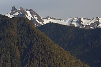 Boulder River Wilderness - Three Fingers, the highest mountain in the wilderness, with Boulder Ridge in the foreground
