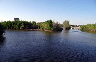 Maumee River - The St. Marys River (left) and St. Joseph River (right) converge to form the Maumee River (foreground) in Fort Wayne, Indiana.