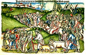 First Mongol invasion of Hungary - Mongol invasion depicted in Johannes de Thurocz's Chronica Hungarorum
