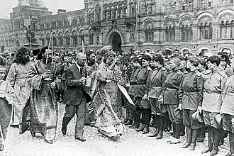 Patriarch Tikhon of Moscow in 1917 Tikhon mitropolit and russian soldiers 1917 in Moskow Krasnaja square.jpg