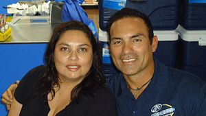 Tony Casillas - Casillas with a fan prior to a Cowboys home game in 2011.