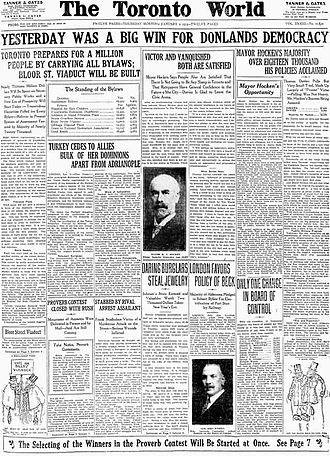 The Toronto World - Front page of The Toronto World, January 2, 1913