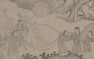 Vietnamese clothing - Trần dynasty clothings as depicted in The Great Monk of Bamboo Forest descending the mountain (Trúc Lâm Đại Sĩ Xuất Sơn)- a 14th-century scroll at Liaoning museum.